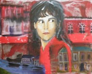 Kunst uit geweld, schilderij van Esther Veerman getiteld 'Painting the Past'.